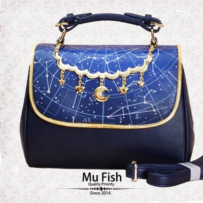 Mufish Constellation Print 2 Way Handbag(Navy Blue/In Stock)