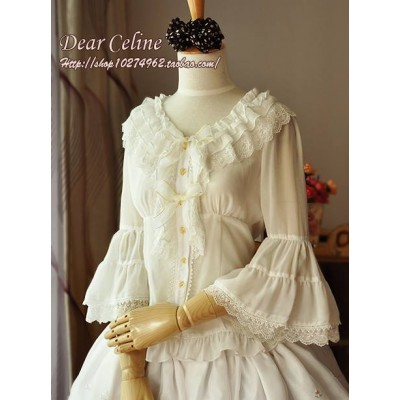 Dear Celine Bell Sleeved Lace Blouse II(In Stock)