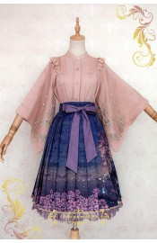 Ichigo Miko Night Sakura Water Lantern Long Skirt(Reservation/Deposit)