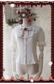 Infanta Chocolate Carousel Chiffon Short Sleeve Blouse