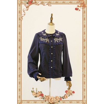 Infanta Rose Garden Embroidery Quilted Thick Chiffon Blouse