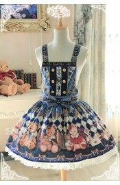 Pink Up Royal College Bear Pinafore Dress(Reservation)