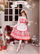 Neverland Strawberry Bunny Detachable Apron JSK