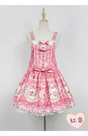 Neverland Strawberry Bunny Pinafore Dress