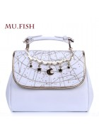 Mufish Constellation Embroidered 2 Way Handbag(White/In Stock)