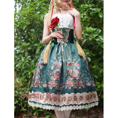 Surface Spell Gothic Alpen Rose Dirndl Corset Skirt