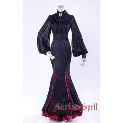 Surface Spell Gothic Lorelei Fish Tail Jacquard Long Skirt
