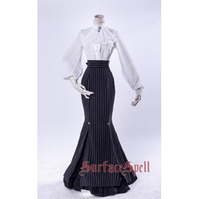 Surface Spell Gothic Lorelei Fish Tail Striped Long Skirt