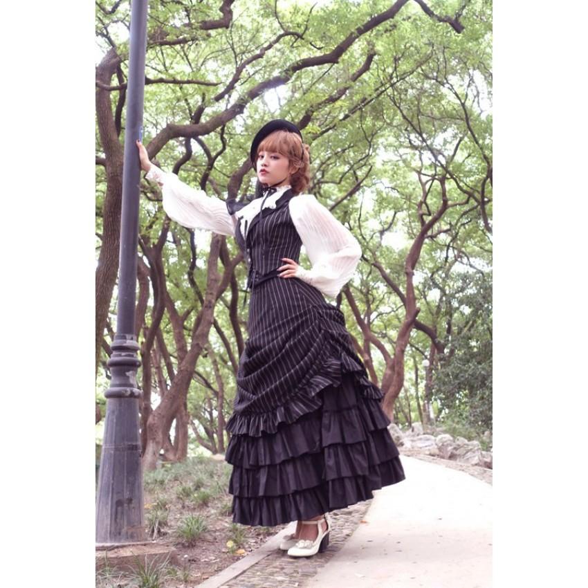 b1d20f5916 Surface Spell Gothic Striped Victorian Bustle Skirt - CLOBBAONLINE